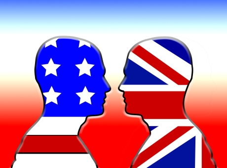 American And UK Flag Heads